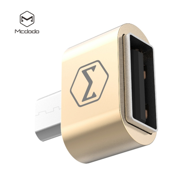 Mcdodo USB AF To Micro USB Aluminum Alloy (18x18x9 mm) Gold