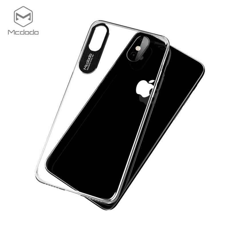Mcdodo iPhone X Sharp Aluminum Alloy pouzdro (Aluminum Alloy + PC) Clear černé