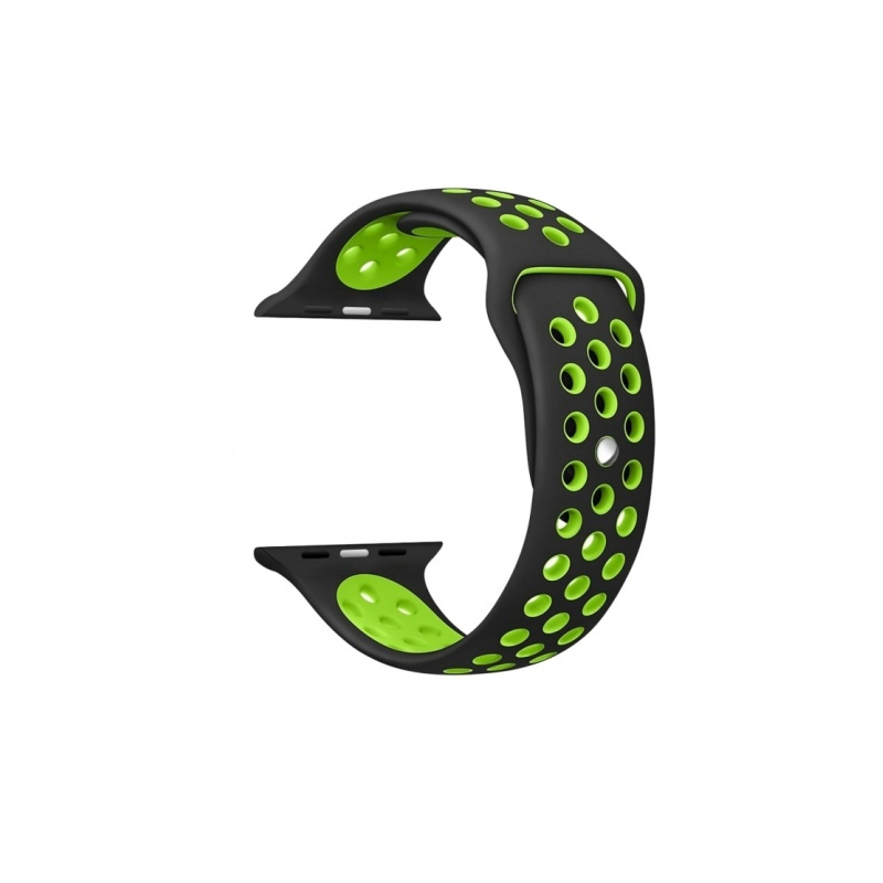 Silicon Sport Band With Holes For Apple Watch 38mm Green With Black