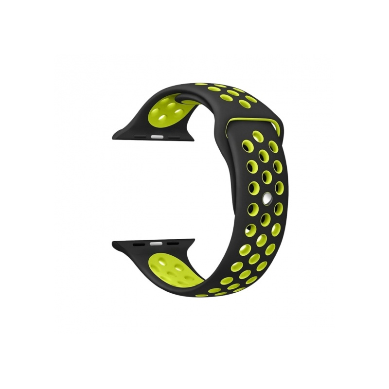Silicon Sport Band With Holes For Apple Watch 42mm Yellow With Black