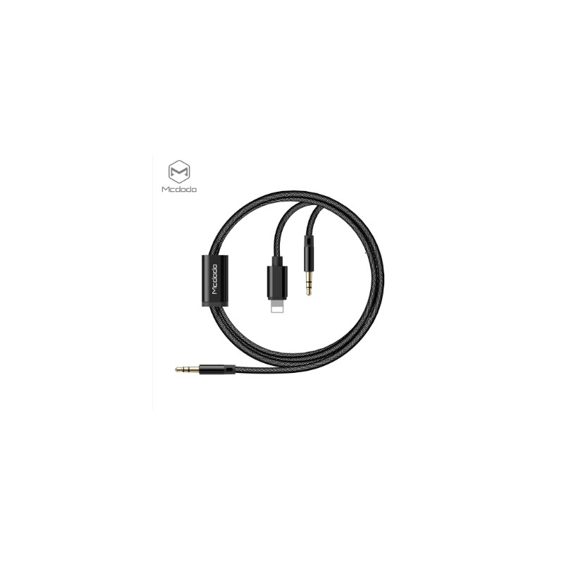 Mcdodo 2 in 1 DC3.5mm to Lightning and DC3.5mm cable 1,2m Black