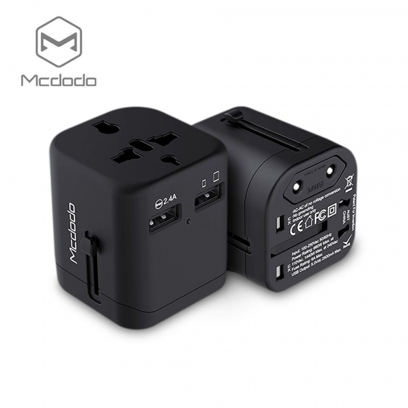 Mcdodo Universal Travel Charger with dual USB ports (5V,2.4A) Black
