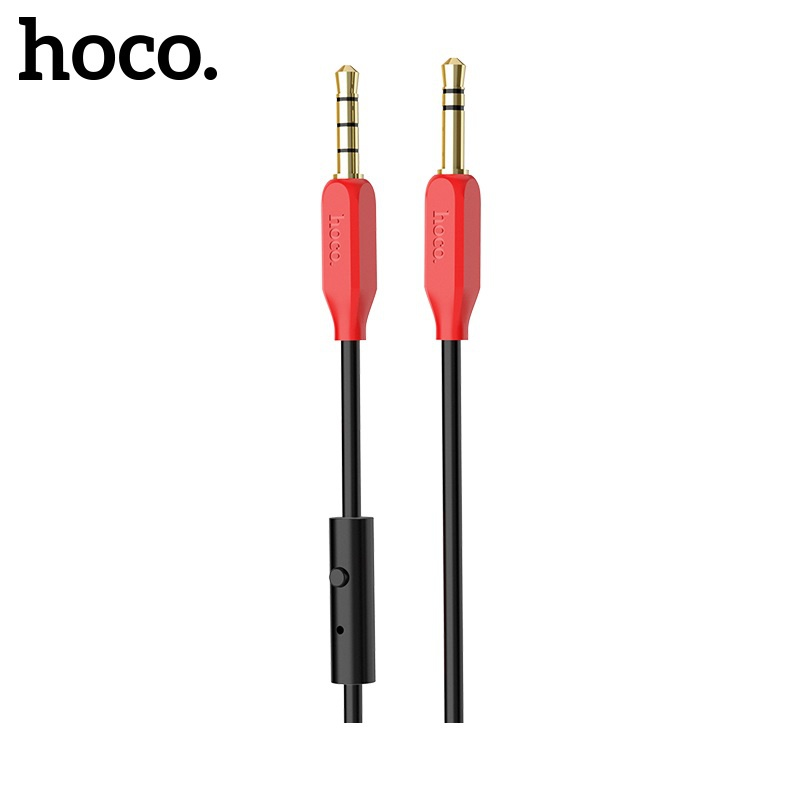Hoco AUX Audio Cable (With MIC) (Red)