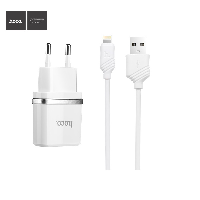 Hoco Smart Single USB (Lighting Cable) Charger Set (EU) White