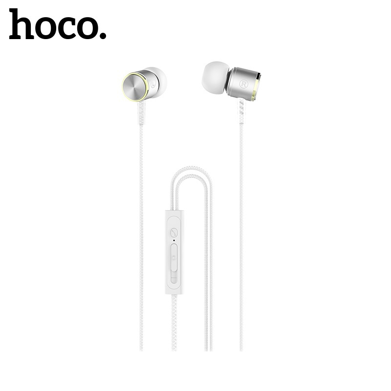 Hoco Ice Rhyme Wire Control Earphones with Mic Silver