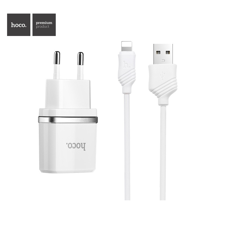 Hoco Smart Dual USB (Lighting Cable) Charger Set (EU) White