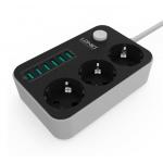 LDNIO EU 5V 3.4A Desktop 3 Power Socket 6 USB Port 5 - 1.6m Charging Socket
