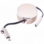 LDNIO 2.4A High Speed Type-C & Micro USB Data Retractable 2-in-1 Cable (Champagne)