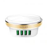 LDNIO 4 Port LED Press Lamp Universal Travel Adaptor (White-Gold)