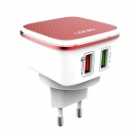LDNIO USB 5V 2.4A Quick Charge Universal Charger with Micro USB cable (White-Red)
