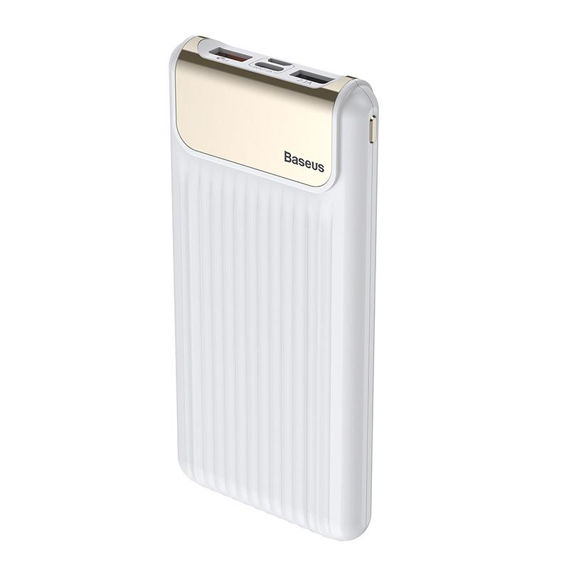 Baseus Thin QC3.0 M+T Daul Input Digital Display Power Bank 10000mAh White