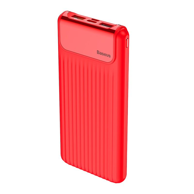 Baseus Thin QC3.0 M+T Daul Input Digital Display Power Bank 10000mAh Red