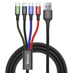 Baseus Fast 4in1 Cable for Lightning + Type-C (2) + Micro 3.5A 1.2M Black