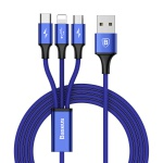 Baseus Rapid Series 3-in-1 Cable Micro + Lightning + Type-C 3A 1.2M Dark Blue