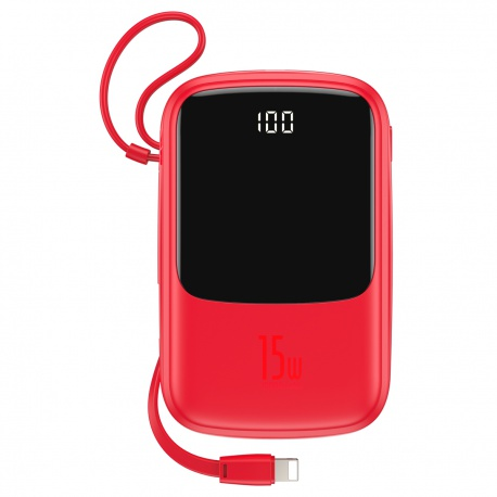 Baseus Q Pow Digital Display 3A Power Bank 10000mAh (with Lightning Cable) Red