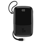 Baseus Q Pow Digital Display 3A Power Bank 10000mAh (with Lightning Cable) Black
