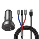 Baseus Digital Display Dual USB 4.8A Car Charger 24W with Three Primary Colors 3-in-1 Cabl