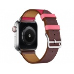 COTEetCI Calf Leather Band for Apple Watch 42 / 44mm (Short) Bordeaux.Rose with Rose Azale
