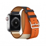 COTEetCI Calf Leather Band for Apple Watch 42 / 44mm (Long) Indigo. Craie with Orange