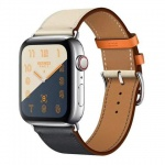 COTEetCI Calf Leather Band for Apple Watch 38 / 40mm (Short) Indigo. Craie with Orange