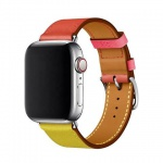 COTEetCI Calf Leather Band for Apple Watch 42 / 44mm (Short) Amber.Orange with Rose Azalee