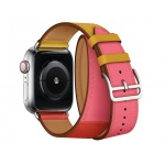 COTEetCI Calf Leather Band for Apple Watch 42 / 44mm (Long) Amber. Orange with Rose Azalee