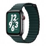 COTEetCI Leather Back Loop Band for Apple Watch 42 / 44mm Forest Green
