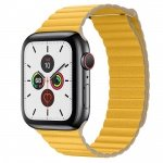 COTEetCI Leather Back Loop Band for Apple Watch 42 / 44mm Meyer Lemon
