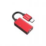 Hoco Type-C 2-in-1 Audio Converter (Red)