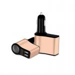 Hoco Z10 Cigarette-Lighter Car Charger with Digital Display (Black-Gold)