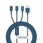 Baseus Superior Series Fast Charging Data Cable USB to M+L+C 3.5A 1.5m Blue