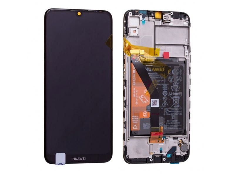 Huawei Y6 (2019) LCD + Touch + Frame + Battery - Midnight Black (Service Pack)