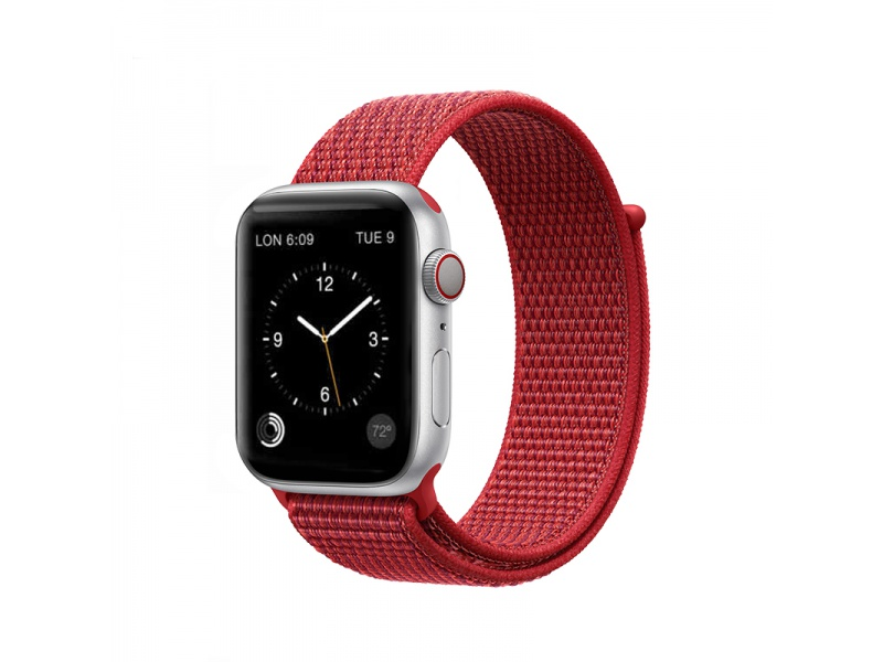 COTEetCI Magic Tape Strap for Apple Watch 38 / 40mm Red