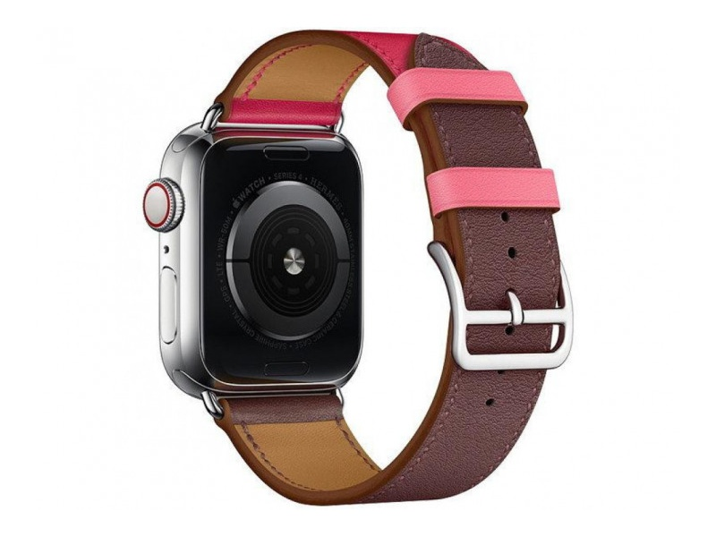COTEetCI Calf Leather Band for Apple Watch 38 / 40mm (Short) Bordeaux.Rose with Rose Azale