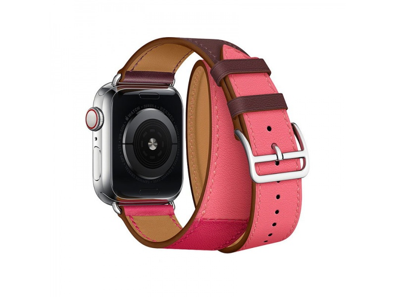 COTEetCI Calf Leather Band for Apple Watch 42 / 44mm (Long) Bordeaux.Rose with Rose Azalee