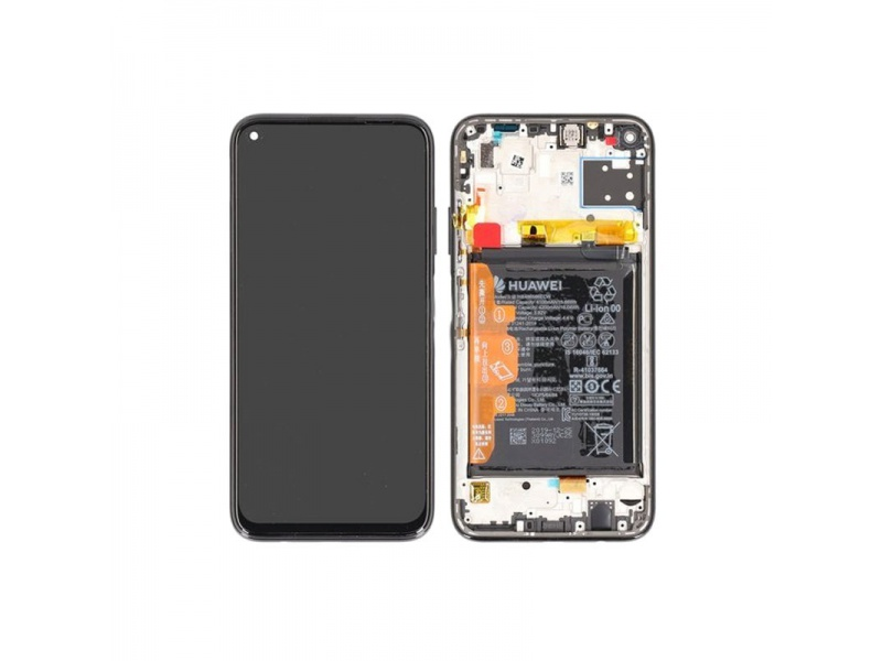 Huawei P40 Lite LCD + Touch + Frame + Battery Black (Service Pack)