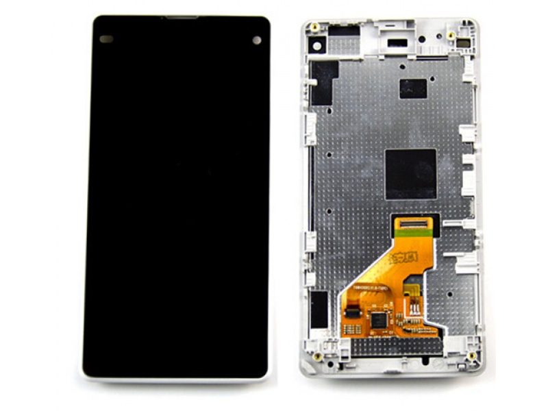 LCD + Touch + Frame (Assembled) pro Sony Xperia Z1 Compact (D5503) White (OEM)